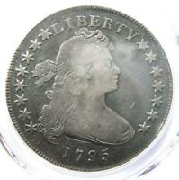1795 DRAPED BUST SILVER DOLLAR $1 COIN, SMALL EAGLE - CERTIFIED PCGS VG DETAIL
