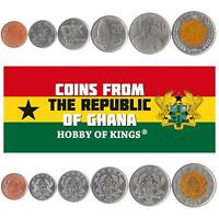 SET OF 6 COINS FROM GHANA. 1 5 10 20 50 PESEWAS 1 CEDI. OLD MONEY 2007 2019
