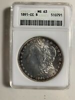 1881 CC MORGAN SILVER DOLLAR ANACS MINT STATE 63 SOME   TONEING