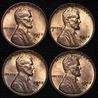 1942-D LINCOLN WHEAT CENT PENNY CHOICE BU 4 COINS E629 T