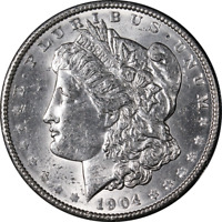 1904-P MORGAN SILVER DOLLAR  BU BLAST WHITE GREAT EYE APPEAL  STRIKE