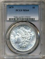 1879 MORGAN PCGS MINT STATE 64 MOSTLY WHITE UNCIRCULATED SILVER DOLLAR PHILADELPHIA MINT