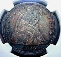 1846 SEATED LIBERTY DOLLAR NGC MINT STATE 62 CLEAN, WELL STRUCK AND QUITE ORIGINAL