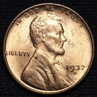1937-D LINCOLN WHEAT SMALL CENT PENNY CHOICE BU RED SHIPS FREE E624 JE