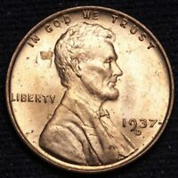 1937-D LINCOLN WHEAT SMALL CENT PENNY CHOICE BU RED SHIPS FREE E632 SE