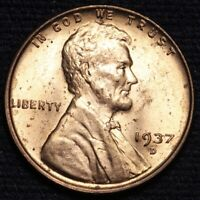 1937-D LINCOLN WHEAT SMALL CENT PENNY CHOICE BU RED SHIPS FREE E633 SE
