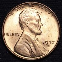 1937-D LINCOLN WHEAT SMALL CENT PENNY CHOICE BU RED SHIPS FREE E634 SE
