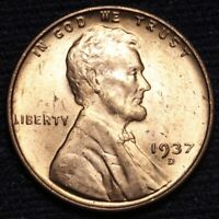 1937-D LINCOLN WHEAT SMALL CENT PENNY CHOICE BU RED SHIPS FREE E636 SE