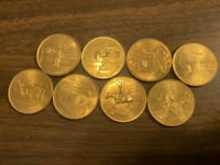 GOLD PLATED STATE QUARTERS NEAT COINS 3  1999 & 5  2002.