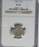 1865 THREE CENT NICKEL, AU55, NGC