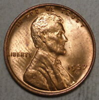 1937-D LINCOLN CENT, CHOICE UNCIRCULATED,  RED COLOR    0603-02