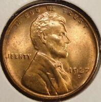 1937-D LINCOLN CENT, GEM UNCIRCULATED,  COLOR   0411-04