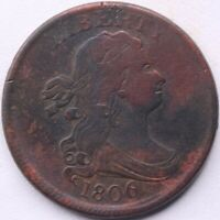 1806 P DRAPED BUST HALF CENT: SMALL 6   STEMLESS