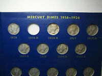 MERCURY SILVER DIME SET 1916   1945 NO 16 D 77 COINS