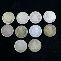 LOT OF  10  DIFFERENT SEATED LIBERTY DIMES COINS   CULLS