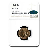 1863 INDIAN HEAD CENT MINT STATE 65 NGC CAC - SKU213269