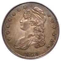 1834 50C LARGE DATE, LARGE LETTERS CAPPED BUST HALF DOLLAR PCGS OGH AU50 CAC