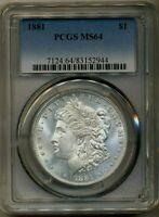 1881 MORGAN PCGS MINT STATE 64 UNCIRCULATED SILVER DOLLAR COIN  PHILADELPHIA MINT $1