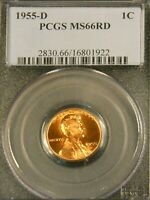1955 D LINCOLN WHEAT CENT PCGS MINT STATE 66RD BRIGHT RED SUPERB LUSTER PQ G546