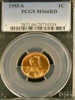 1955 S LINCOLN WHEAT CENT PCGS MINT STATE 66RD BRIGHT RED SUPERB LUSTER PQ G547