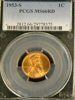 1953 S LINCOLN WHEAT CENT PCGS MINT STATE 66RD BRIGHT RED SUPERB LUSTER PQ G541