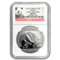 2016 CHINA 30 GRAM SILVER PANDA MS-70 NGC EARLY RELEASES - SKU 95217
