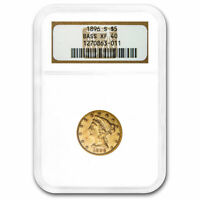 1896-S $5 LIBERTY GOLD HALF EAGLE EXTRA FINE -40 NGC BASS COLLECTION - SKU213251