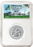 2020 W QUARTER 25C AMERICAN SAMOA PARK V75 NGC MS67 FIRST RE
