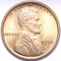 1934 LINCOLN WHEAT CENT PENNY CHOICE BU RED SHIPS FREE E839 YN