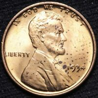 1934 LINCOLN WHEAT CENT PENNY CHOICE BU RED SHIPS FREE E848 KM