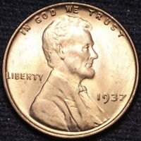 1937 LINCOLN WHEAT CENT PENNY CHOICE BU RED SHIPS FREE E890 AN