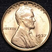 1937 LINCOLN WHEAT CENT PENNY CHOICE BU RED SHIPS FREE E892 AN