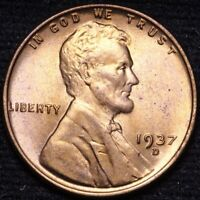 1937-D LINCOLN WHEAT CENT PENNY CHOICE BU RED SHIPS FREE E907 AN