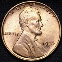 1937-D LINCOLN WHEAT CENT PENNY CHOICE BU SHIPS FREE E908 AN