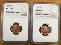 1937 & 1937-D LINCOLN WHEAT CENT CENT 1 NGC MINT STATE 66 RD