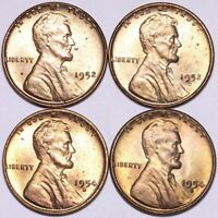 1952 1952-D 1954-D 1954-S LINCOLN WHEAT CENT PENNY CHOICE BU 4 COINS E944 AE