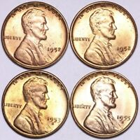 1952 1952-D 1953-S 1955-S LINCOLN WHEAT CENT PENNY CHOICE BU 4 COINS E945 KE