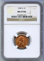 1949-S LINCOLN WHEAT CENT PENNY NGC CERTIFIED MINT STATE 67RD - SAN FRANCISCO MINT CC621