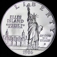 GEM PROOF 1986 S ELLIS ISLAND ONE DOLLAR SILVER COMMEMORATIV