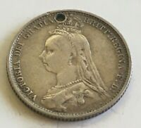 1887 VICTORIA  SIX  PENCE SILVER COIN   283