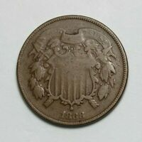 1868 BRONZE TWO CENT COIN 108844JR