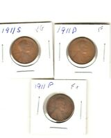 1911-P AND 1911-S AND 1911-D LINCOLN CENT PENNY ALL 3