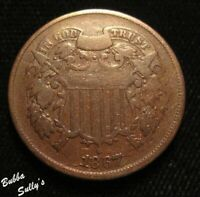 1867 TWO CENT PIECE <> SHATTERED DIE OBV & REV <> FINE