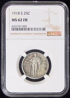 1918-S STANDING LIBERTY QUARTER NGC MINT STATE 62 FH 009