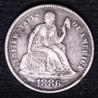 1886-S SEATED LIBERTY DIME CHOICE EXTRA FINE   DATE SHIPS FREE E705 KEF