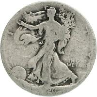 1920 S WALKING LIBERTY HALF DOLLAR 90 SILVER ABOUT GOOD AG