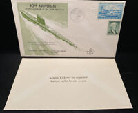 1965 USS NAUTILUS SSN571 US SUBMARINE 10TH ANNIV FIRST DAY COVER RICKOVER CARD