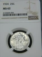 1924 STANDING LIBERTY QUARTER NGC MINT STATE 62 BLAST WHITE GREAT LUSTER PQ MH199