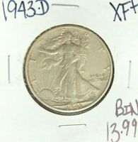 1943-D WALKING LIBERTY SILVER HALF DOLLAR  EXTRA FINE    COIN