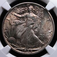 1934 WALKING LIBERTY HALF DOLLAR NGC MINT STATE 62 CRUSTY ORIGINAL LOOK WITH PALE MAUVE